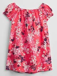 Detské šaty smocked kvetinový swing dress Ružová