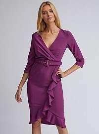 Dorothy Perkins fialové šaty s volánmi
