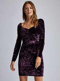 Dorothy Perkins fialové zamatové šaty
