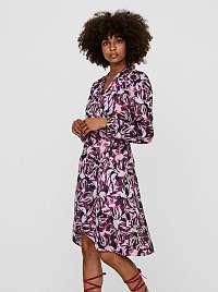 Fialové vzorované saténové zavinovacie šaty VERO MODA Erin