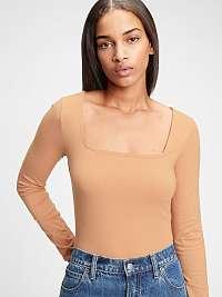 GAP béžové dámske tričko organic cotton squareneck bodysuit