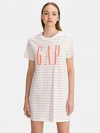 GAP biele pruhované šaty Logo T-shirt Dress