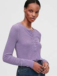 GAP fialové dámske tričko Ribbed Henly