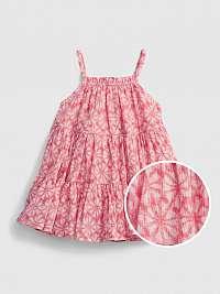 GAP Gauze Tiered Floral Šaty dětské Ružová
