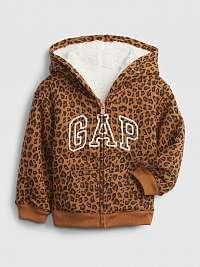 GAP hnedá dievčenská mikina Logo cozy hoodie