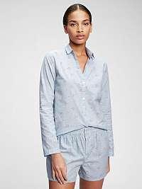 GAP modré dámska košeľa na spanie pajama in poplin