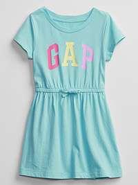GAP modré dievčenské šaty Logo v-ss ptf knit drs