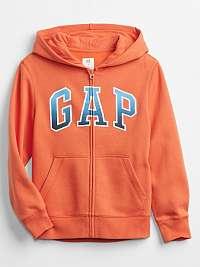 GAP oranžové detská mikina Logo v-spr fshn fz