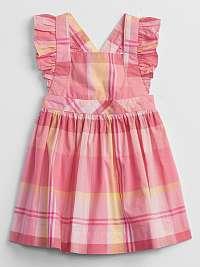 GAP ružové baby šaty Plaid
