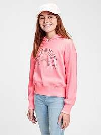 GAP ružové dievčenská mikina s kapucí
