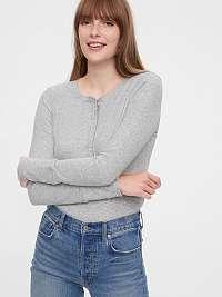 GAP sivé dámske tričko Ribbed Henly
