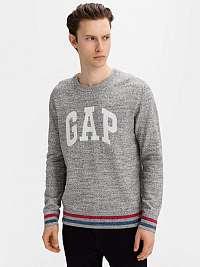 GAP sivé pánsky sveter Logo intarsia crew