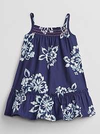 GAP Smocked Floral Šaty detské Modrá