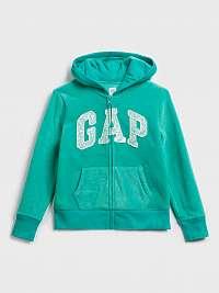 GAP zelená dievčenská mikina s logom