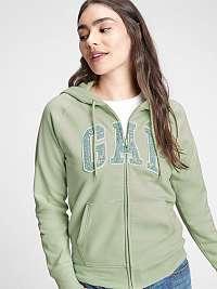 GAP zelené dámska mikina Logo v clsc fz hd novelty