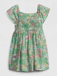 GAP zelené dievčenské šaty Smock Flut