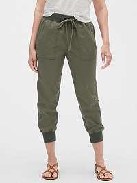 GAP zelené domáce nohavice Drawstring Joggers