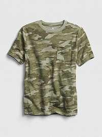 GAP zelené maskáčové chlapčenské tričko