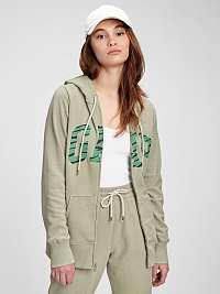 GAP zelené mikina Logo easy hoodie
