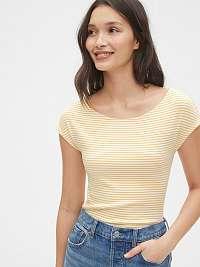 GAP žlté pruhované dámske tričko modern boatneck striped