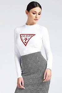 Guess biele dámske tričko Long Sleeve Red Logo