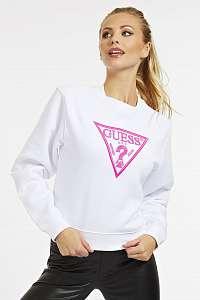 Guess biele mikina Embroidery Triangle Logo s logom