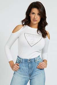 Guess biele sveter Cut-Out Sleeves Triangle Logo