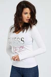 Guess biely sveter Logo V Neck