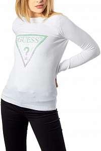 Guess biely sveter s tieňovaným logom s kamienkami