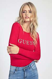 Guess červené sveter Rhinestones Front Logo Sweater