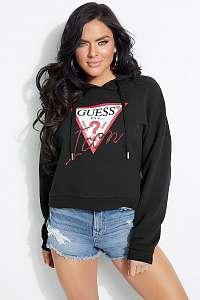 Guess čierna mikina Hoody Icon Fleece