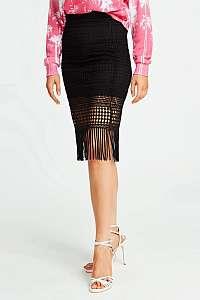 Guess čierna sukňa so strapcami