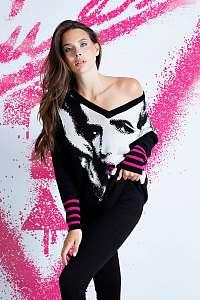 Guess čierne sveter Jacquard V Neck Sweater