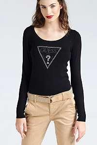 Guess čierny dámsky sveter Printed Triangle Logo