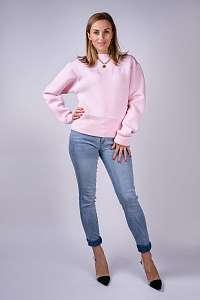 Guess ružová mikina Felpa Ricamo Logo