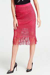 Guess ružová sukňa so strapcami