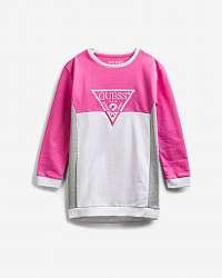 Guess ružové detské šaty Triangle Logo