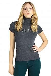 Guess tmavosivý svetrový rolák Logo Print s krátkym rukávom