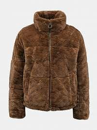 Hnedá bunda s umelou kožušinkou Jacqueline de Yong Touch