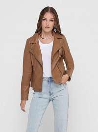 Hnedá koženková bunda ONLY Melisa