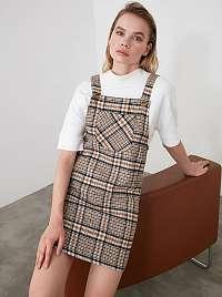 Hnedé kockované šaty Trendyol