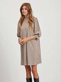 Hnedé kockované voľné šaty .OBJECT