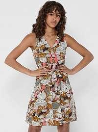 Hnedé kvetované šaty ONLY Gusta