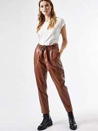 Hnedé skrátené koženkové nohavice Dorothy Perkins
