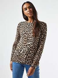 Hnedé tričko s leopardím vzorom Dorothy Perkins