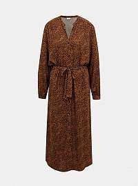 Hnedé vzorované košeľové maxišaty Jacqueline de Yong