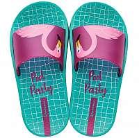 Ipanema tyrkysové dievčenské šľapky Urban Slide Kids Green/Pink