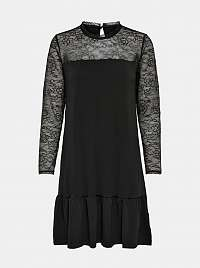 Jacqueline de Yong čierne šaty s transparentnými rukávmi