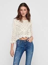 Jacqueline de Yong smotanové/krémové cropped sveter