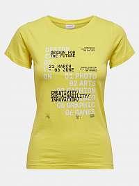 Jacqueline de Yong žlté dámske tričko Chicago s potlačou